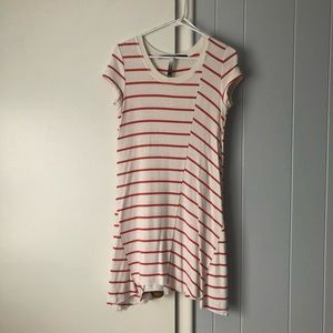 Kensie Striped Short Sleeve T Shirt Dress
